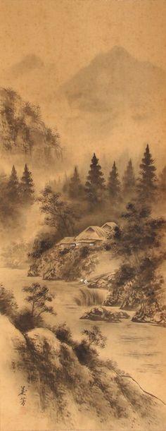 Japanese hanging scroll Landscape painting  Written on silk Wall art hsky1-192