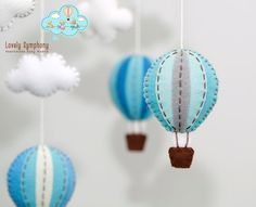 Blue and grey hot air balloons baby mobile by LovelySymphony