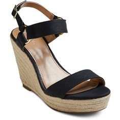 Women's Melinda Quarter Strap Wedges Merona ($40) ❤ liked on Polyvore featuring shoes, wedge heel shoes, merona, strappy shoes, strappy wedge shoes and strap wedge shoes