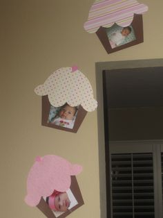 Cupcake themed birthday decorations love this idea to display hows shes grown since her last bday