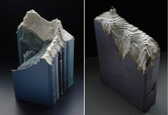 Guy Laramee, an interdisciplinary artist, is best known for transforming the edges of vintage dictionaries, hardbacks, and encyclopedias into meticulously detailed landscapes with plateaus, temples, mountains, and valleys.