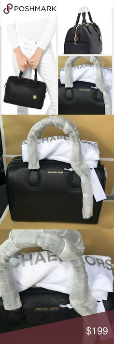 Michael Kors Black Leather Medium bag satchel Beautiful & classy Michael Kors Mercer Black Medium Handbag. Leather with golden details. All brand new in origina wrapping from MK. Dust bag is included. Golden lock included as pictured. Michael Kors Bags Satchels