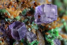 Fluorite, Zeunerite | #Geology #GeologyPage #Mineral    Locality: Montoso Quarries, Bagnolo Piemonte, Cuneo Province, Piedmont, Italy    Field of View: 4.74 mm   Photo Copyright © Giuseppe Finello   Geology Page  www.geologypage.com