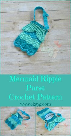 Mermaid Ripple Purse, Crochet Pattern - ekayg