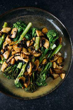Sautéed Tenderstem®️️ with Garlic Balsamic Mushrooms #vegan #sides #recipe #vegetarian