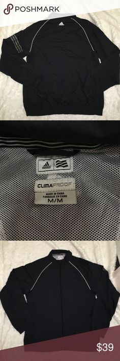 Adidas jacket Thin tragic jacket climaproof their waterproof technology. Jacket is light and thin good for water protection and also feeling light. High quality and looks chic. Slightly on the large side of medium could possibly for a large Adidas Jackets & Coats