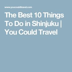 The Best 10 Things To Do in Shinjuku | You Could Travel