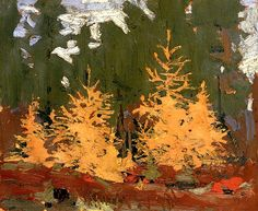 This is a painting of tamarack trees done by Tom Thomson in 1915.