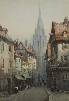 9amatistas:        Noel Harry Leaver, ARCA (British, 1889-1951)     A busy street near a cathedral    (Source: catonhottinroof)