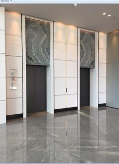 Neat white glossy elevator facsias, efficient yet glam