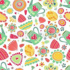 Hinreissend! Entzückend! Einfach toll! Verzierte Gießkannen, Fantasieblumen und Herzen machen richtig Lust auf Gartenarbeit. Druckbar auf Stoff bei www.Stoff-Schmie.de  Von Julia Vyazovskaya.