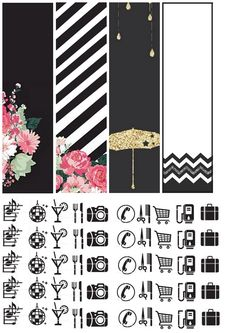 Free Printable Black, Pink and Gold Planner Stickers from Cultura