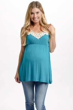 Just in time for summer, this vibrant maternity tank top has just the right pop of color to make you stand out in style throughout those long warm weather days. Teal-Crochet-Neckline-Maternity-Tank-Top