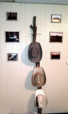 """Home made cowboy hat rack! Wow finally one that looks good and will hold those 5"""" brims!"""