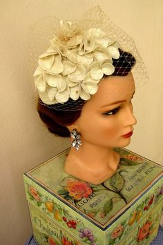 Handmade 40's style creme off white felt hat with handmade flowers