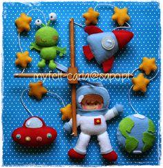 Baby Mobile Nursery Mobile Felt Crib Mobile Astronaut by myfelt Baby Mobile Felt, Baby Crib Mobile, Alice In Wonderland Bedding, Diy Bebe, Felt Fairy, Felt Patterns, Felt Toys, Felt Crafts, Baby Shower Gifts