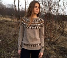 Fair Isle Sweater Hand Knit in Green Women size Small - Medium ...
