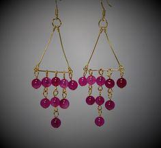 A personal favorite from my Etsy shop https://www.etsy.com/listing/266351803/fuchsia-quartz-gold-chandelier-earrings