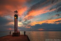 Sunset on Lake Huron, Lighthouse, Grand Bend, Ontario . my favorite place on earth Beaches In Ontario, Beautiful World, Beautiful Places, Beautiful Scenery, Lake Huron, Beach Town, Vacation Destinations, Vacations, Great Lakes