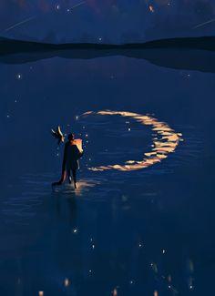 New Illustration Art Moon Life Ideas Art And Illustration, Fantasy Kunst, Fantasy Art, Main Manga, Anime Scenery, Moon Art, Aesthetic Art, Art Inspo, Concept Art