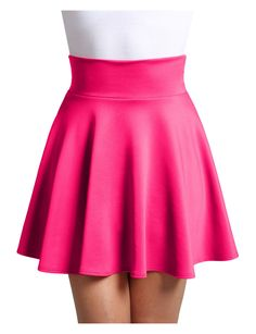 LE3NO Womens High Waisted High Low Stretchy Skater Skirt