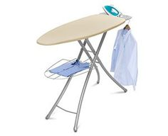 Professional Ironing Board, Cream: Wide-top ironing board Professional design Stylish stability and durability Linen rack Iron rest Garment . Ironing Board Covers, Ironing Boards, Iron Steamer, Iron Holder, Iron Board, Household Chores, Built In Storage, Storage Area, Extra Storage