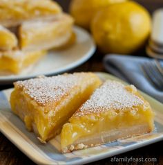 Lemon Bars - Seriously - these are the best lemon bars ever!  Shortbread cookie crust with a creamy and sweet-tart lemon topping.  So good!