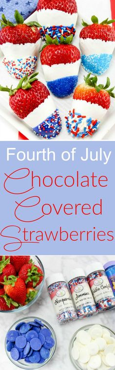 Fourth of July, Memorial Day and Labor Day - these Red, White and Blue Chocolate. Fourth of July, Memorial Day and Labor Day - these Red, White and Blue Chocolate Covered Strawberries will be the perfect way to celebrate these patriotic holiday& Patriotic Desserts, 4th Of July Desserts, Fourth Of July Food, 4th Of July Party, July 4th, Patriotic Party, Patriotic Crafts, Holiday Snacks, Holiday Recipes