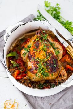 Zesty Cuban Chicken with Chili Roasted Yams. The cuban mojo marinade with lime and orange juice is so tasty!! Gluten free, delicious! #chicken #wholechicken #cubanchicken #glutenfree