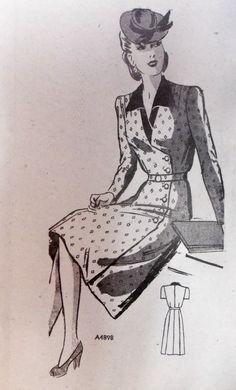 Vintage 1940s Mail Order Anne Adams DRESS by raggspatternstash, $20.00