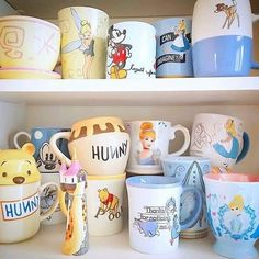 Good morning everyone! Deciding which mug to use each morning can be a difficult choice, especially with a cute collection like this! Which would you choose? Thank you for sharing just part your expanding collection with us! Disney Coffee Mugs, Disney Mugs, Disney Princess Mugs, Style Disney, Mickey Mouse Mug, New Disney Princesses, Disney Rooms, Disney House, Disney Kitchen