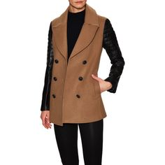 Mackage Lora Leather Sleeve Wool Peacoat ($449) ❤ liked on Polyvore featuring outerwear, coats, wool coat, woolen coat, pea coat, brown wool coat and wool pea coat