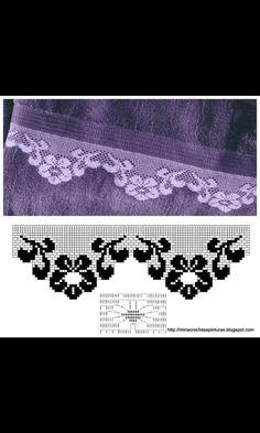 Crochet Borders, Filet Crochet, Crochet Lace, Turkish Towels, Crochet Organizer, Bath Linens, Tela, Dish Towels, Crocheting Patterns