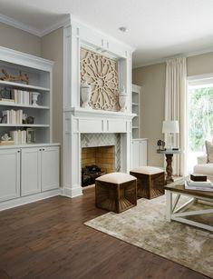 Fireplace in Gathering Room #restorationhardware #toneontone #interiordesign #modelhome #cottagehomecompany