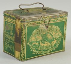 A Us Green Turtle Cigars Lunch Pail, one of the Highlights of my Collection from Gordon Cigar CO in Richmond VA, is only for sale to a solid price whilst being rare and sparse