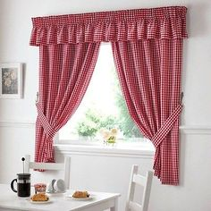 Gingham Check Kitchen Curtains Ready Made Pairs Country Kitchen Curtains, Country Style Curtains, Kitchen Window Curtains, Shabby Chic Kitchen, White Valance, Gingham Curtains, Drapes Curtains, Check Curtains, Blue White Kitchens