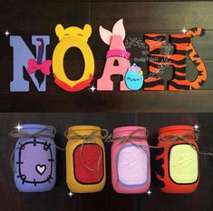 Hand painted letters and mason jars . Winnie The Pooh Decor, Winnie The Pooh Nursery, Winne The Pooh, Winnie The Pooh Birthday, Baby First Birthday, Baby Shower Decorations For Boys, Baby Shower Themes, Shower Ideas, Baby Shower Fall