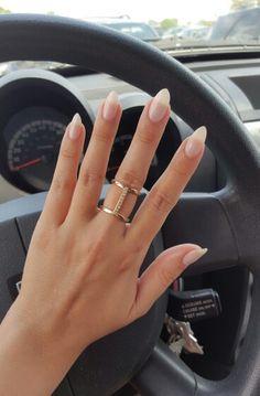 Shellac romantique nude nails almond shape. Just a touch shorter please!