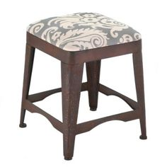 "by Accent Plus Contemporary and cool, this metal stool will look great in your room. The cushion features a fantastic damask pattern that pops from its deep gray background for the ultimate in comfort and style. 16"" x 16"" x 19"" allgooddecor.com  #allgooddecor #furniture #decor #candles #mirrors #figurines #fountains #lighting #outdoor #accents #decorations #gifts #toys"