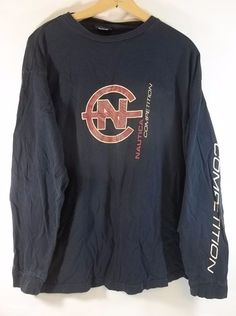 bf669abe21a85 Vintage Nautica Competition Long Sleeve T Shirt XL Blue Front and Sleeve  Logo