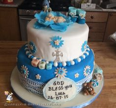 Sweetest Baby Boy Christening Cake... Coolest Birthday Cake Ideas
