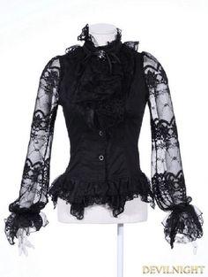 Black Bowtie Gothic Blouse for Women - Devilnight.co.uk