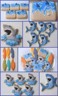 Ready for Shark Week with a humorous cookie set by posted on Cookie Connection Summer Cookies, Fancy Cookies, Iced Cookies, Cute Cookies, Cookies Et Biscuits, Cupcake Cookies, Shark Week, Shark Fin, Shark Cookies