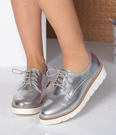 Pantofi cu talpa joasa argintii cu siret Stella Mccartney Elyse, Oxford Shoes, Footwear, Wedges, Casual, Women, Design, Fashion, Moda