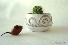 Strehla 7013 small bowl,  cachepot, cactus planter in a natural white glossy glaze with swirling Lava decor, Mid Century Modern Ceramics by Cherryforest on Etsy