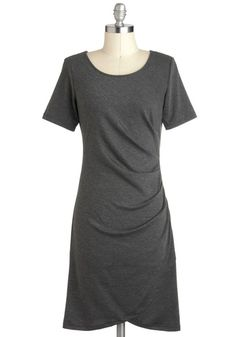 Events Management Dress - Grey, Solid, Sheath / Shift, Short Sleeves, Mid-length, Ruching, Work