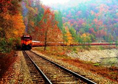 Great Smoky Mountains Railroad fall scenic train ride in the North Carolina mountains: http://www.romanticasheville.com/great_smoky_mountain_railroad.htm