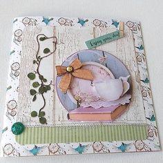 Carte 3d double carrée plus enveloppe pause café fleurs hirondelle printemps fête des mères naissance, baptême, anniversaire,