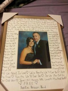 For a wedding shower gift take a photo of the bride and groom find out there wedding song or favorite couple song and write it out. Find a cute frame. Write out the lyrics on the frame mat.