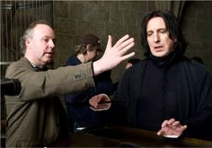 """2009 - Alan Rickman - who played Professor Severus Snape in all 8 Harry Potter movies - is taking direction from the director during the filming of """"Harry Potter and the Half Blood Prince. Severus Snape Always, Snape Harry, Professor Severus Snape, Harry Potter Severus Snape, Severus Rogue, Harry Potter Films, Harry Potter Universal, Harry Potter World, David Yates"""